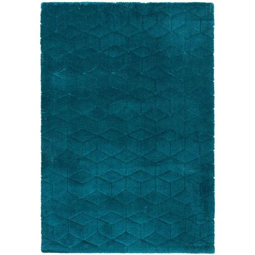 Cozy Rug Plain Teal Geometric