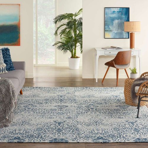 Traditional Damask DAS06 Blue Ivory Rug