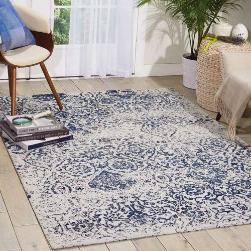 Damask Faded Rug Ivory Navy DAS06