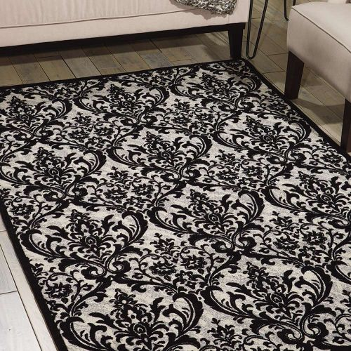 Damask Rug Black White DAS02