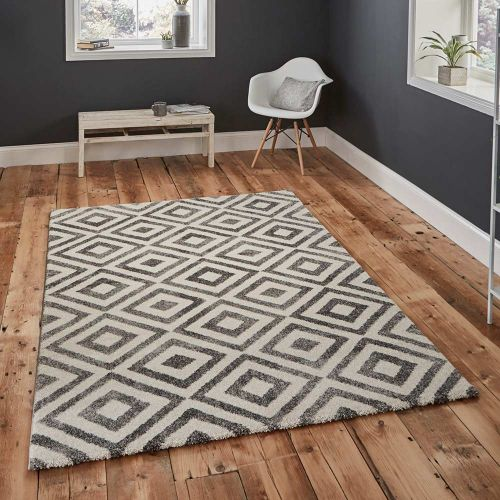 Elegant 4893 Grey White Geometric Rug