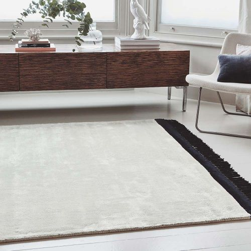 Elgin Tassels Rug Cream Black Border