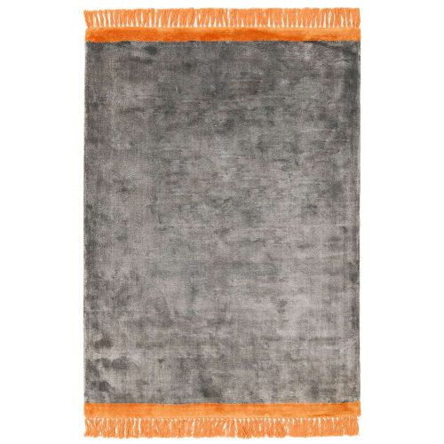 Elgin Tassels Rug Grey Orange Border