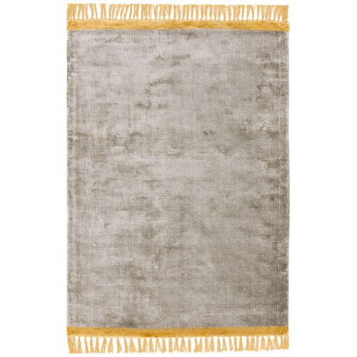 On Sale Elgin Tassels Medium Rug Silver Mustard Border 120x170cm size