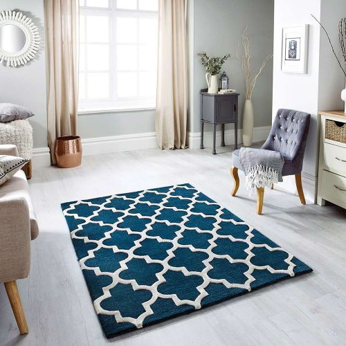Arabesque Wool Rug Emerald Blue