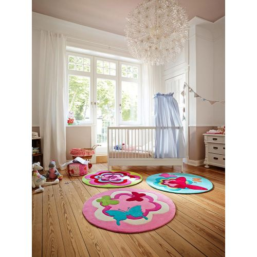 Esprit Butterfly Party Pink Round Rug