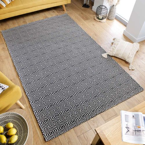 Pappel Black  Cream Patterned Rug