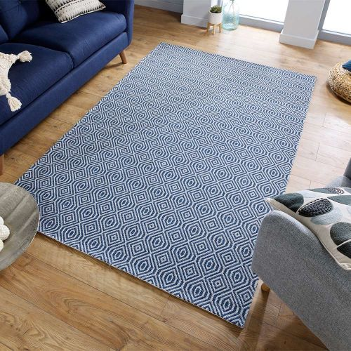 Pappel Blue Patterned Rug