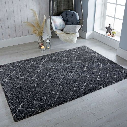 Imari Patterned Grey  White Rug