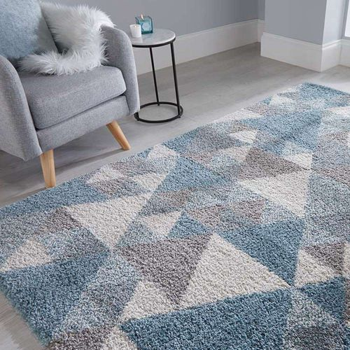 Nuru Blue, Cream  Grey Shaggy Rug