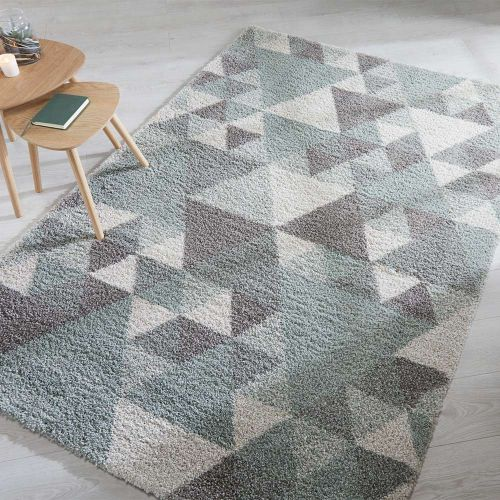 Nuru Mint, Cream  Grey Shaggy Rug