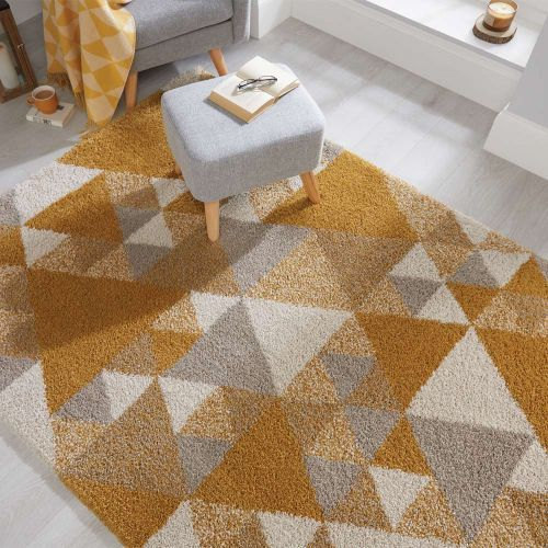 Nuru Ochre, Cream  Grey Shaggy Rug