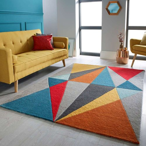 Sale Diamonds Multi Coloured Geometric Rug 80x150