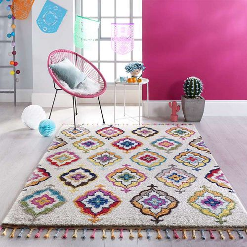 Leonis Fringed Multi Coloured Rug