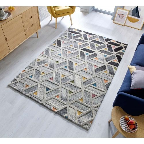 River Geometric Grey Multi Rug