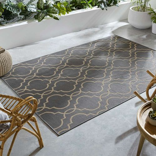 Indoor Outdoor Florence Alfresco Milan Anthracite Beige Rug