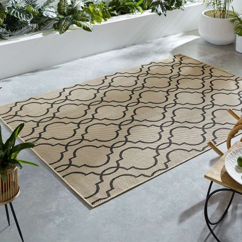 Indoor Outdoor Florence Alfresco Milan Beige Black Rug