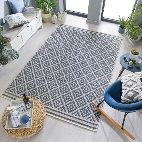 Florence Alfresco Moretti Outdoor Rug Blue Beige