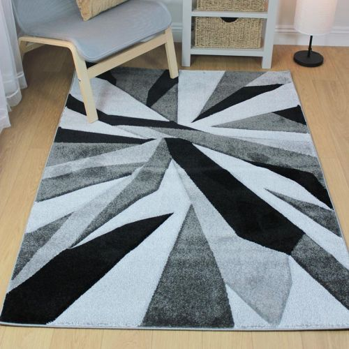 Funky Carved Rug Black Grey