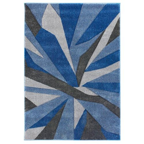 Funky Carved Rug Blue Grey