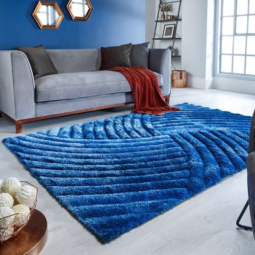Furrow 3D Effect Blue Rug