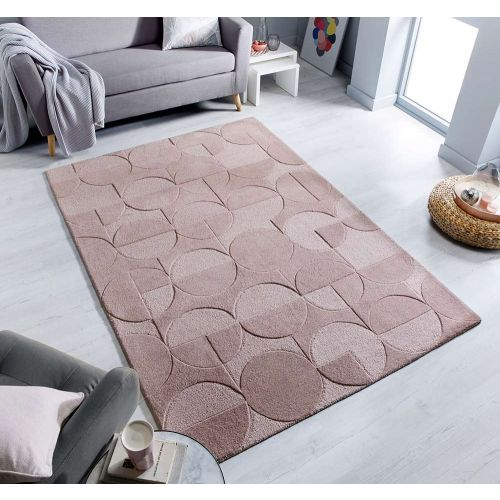 Gigi Bold Geometric Style Blush Pink Rug