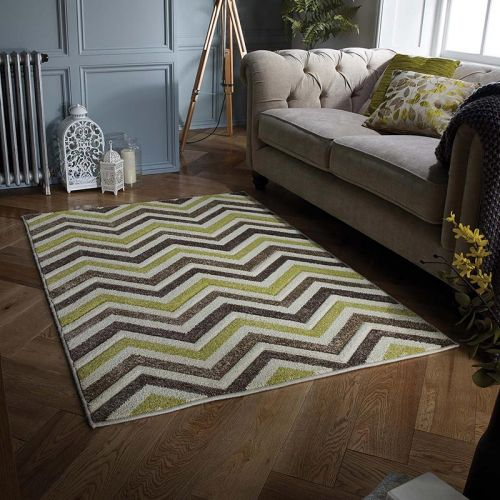 Green Brown Chevron Portland Rug 139X
