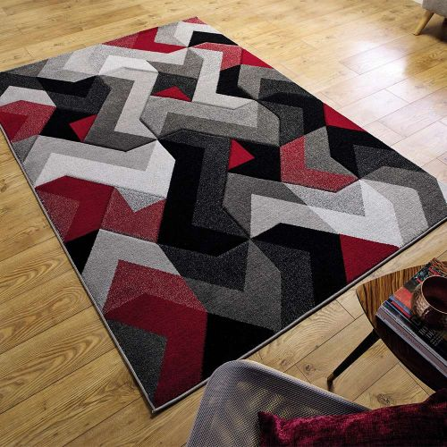 Grey Red Aurora Rug