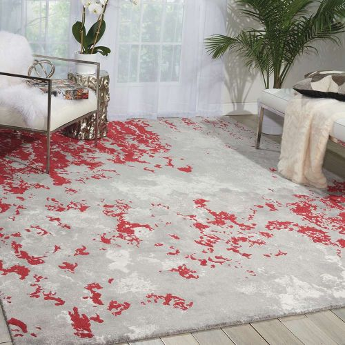Grey Red Twilight Rug Abstract Cloud TWI21