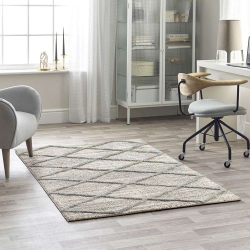 Grey White 3D Geometric Rug Mason 7863A