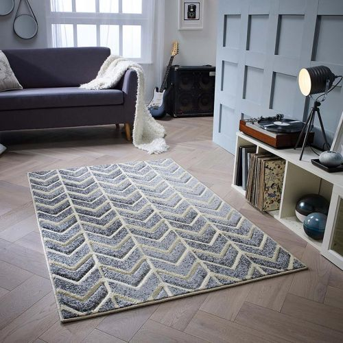 Grey Cream Chevron Portland Rug 5603E