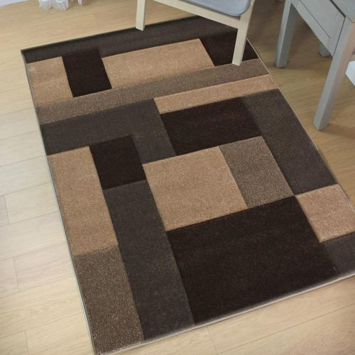 Hand Carved Rug Beige Brown