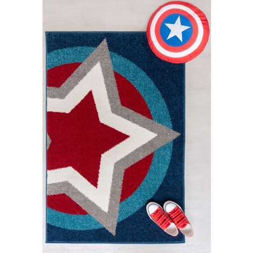 Childrens Hero Supershield Blue  Red Rug