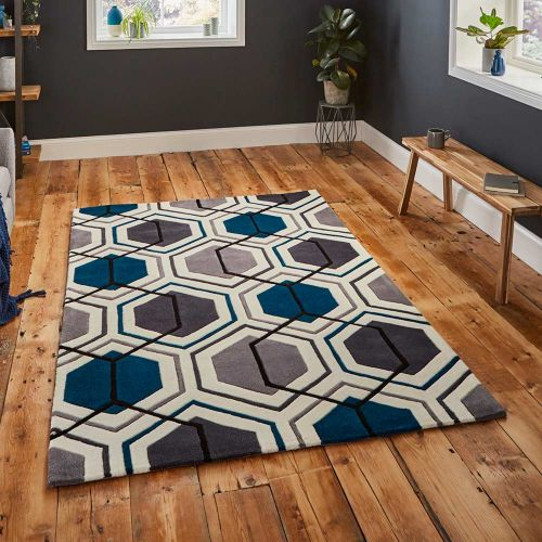 Hong Kong 7526 Grey Navy Geometric Rug