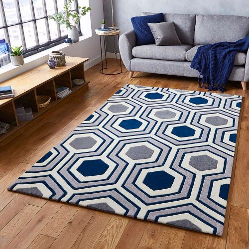 Hong Kong Rug 3661 Grey Navy 120x170cm size