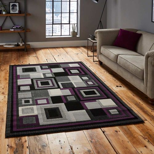 Hudson 3222 Black Purple Squares Rug