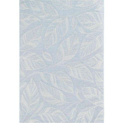 Indoor Outdoor Rug Aqua Leaf Newquay