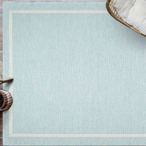Indoor Outdoor Rug Pastel Blue Border