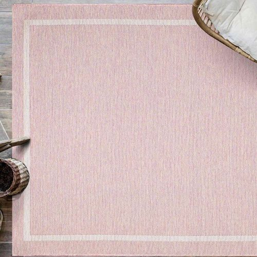 Indoor Outdoor Rug Pink Border Newquay