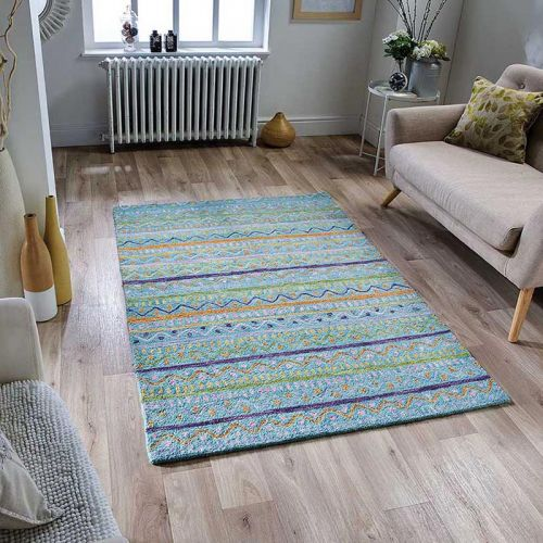 Jasper Wool Rug Tribal Aqua
