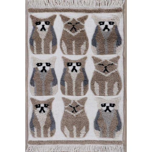 Kingdom Rug with Wool Fringes and Cat Patterns
