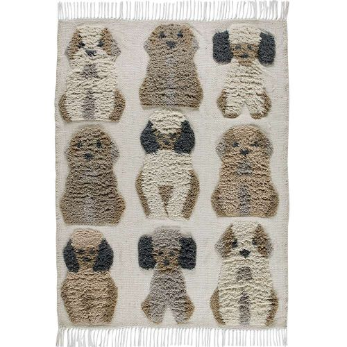 Kingdom Rug with Wool Fringes and Dog Patterns
