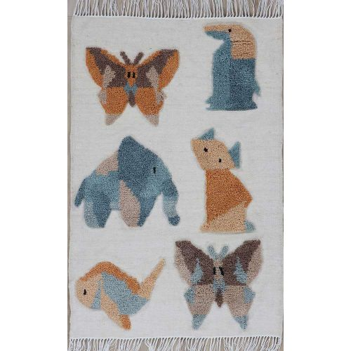 Kingdom Rug Wool Fringes Multiple Animal Patterns