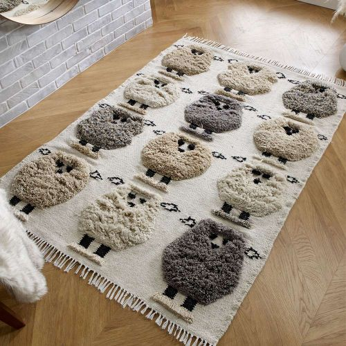 Kingdom Rug with Wool Fringes and Sheep Patterns