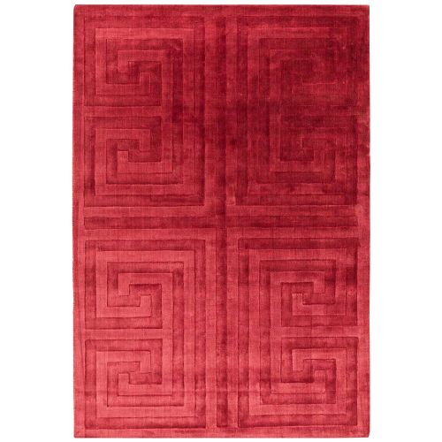 Kingsley Silky Rug Red Geometric