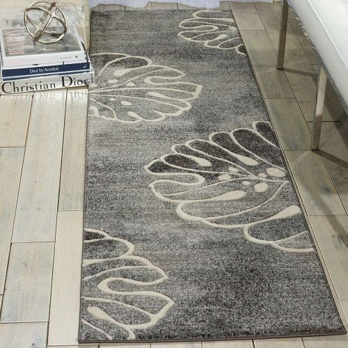 Leaf Design Maxell Rug MAE04 Grey