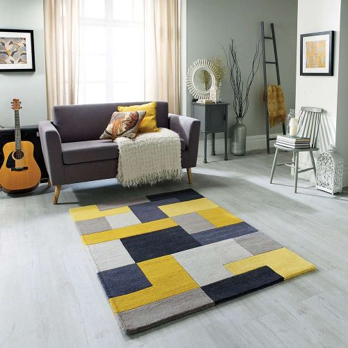 On Sale Lexus Yellow Wool Rug 120x170cm