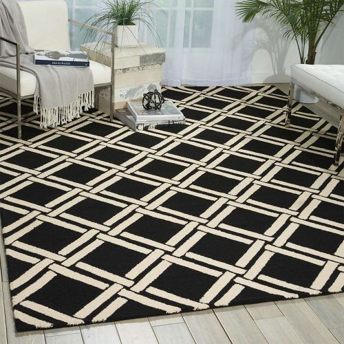 Linear Woolen Rug Black White LIN04