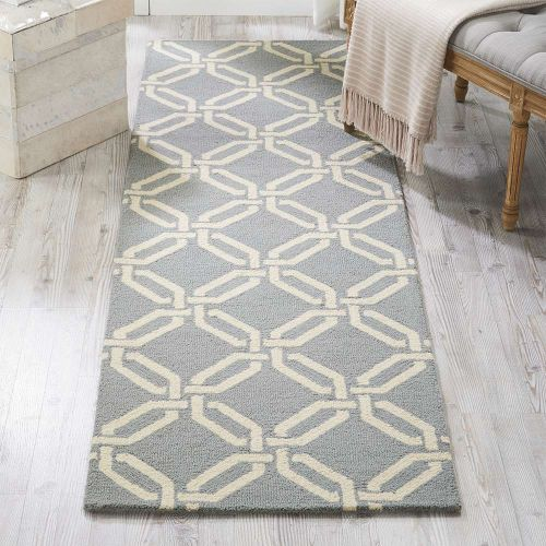 Linear Woolen Rug Light Blue LIN08