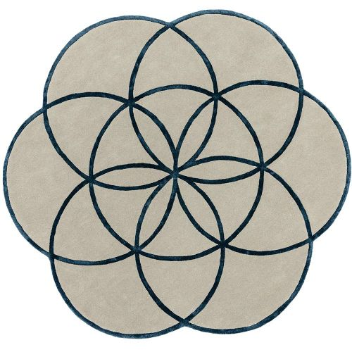 Lotus Flower Rug Blue Wool Viscose
